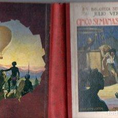 Libros antiguos: JULIO VERNE : CINCO SEMANAS EN GLOBO (SELECTA SOPENA, 1934). Lote 135544650