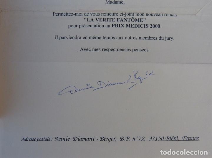 Libros antiguos: Documento firmado por Annie Diamant-Berger /La vérité fantôme/Nº8/2000 - Foto 5 - 140503026