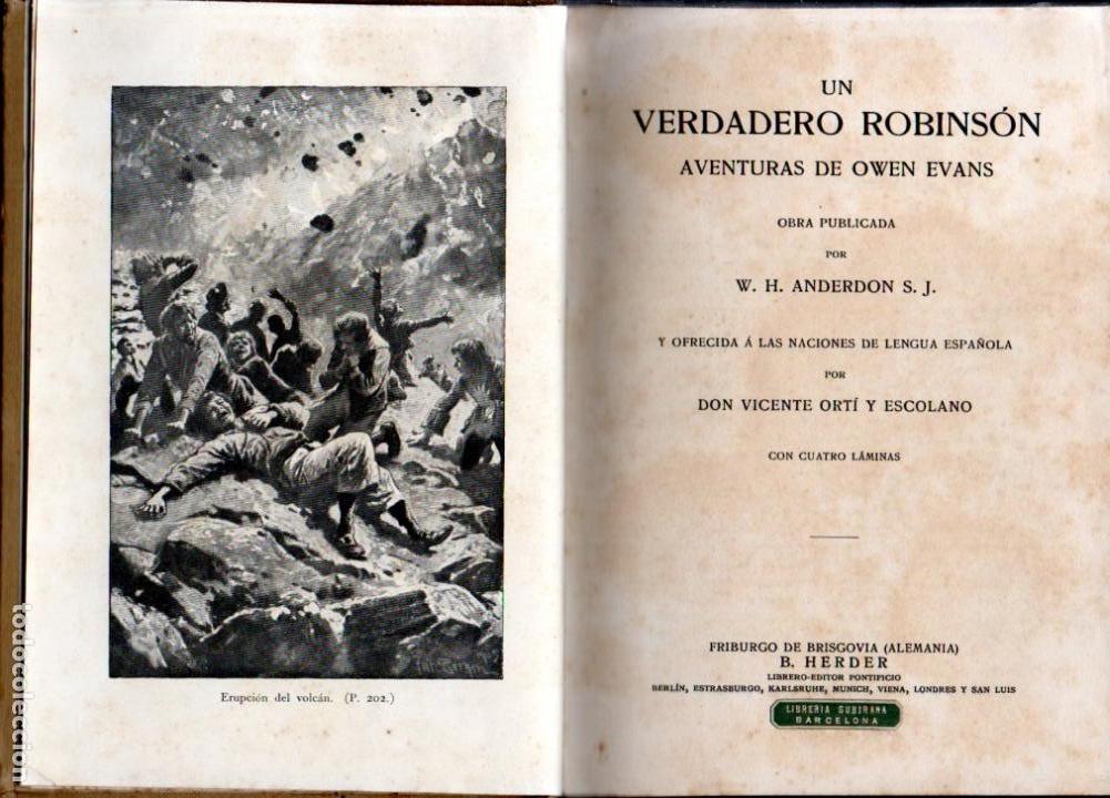 Libros antiguos: ANDERDON : UN VERDADERO ROBINSON (HERDER, S.F.) - Foto 2 - 159884630