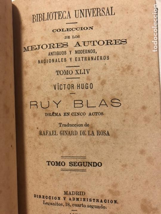Libros antiguos: Ruy Blas. Drama en 5 actos. HUGO, Víctor. Colección los mejores autores, 1878. 2 tomos en 1 vol. - Foto 4 - 155667778