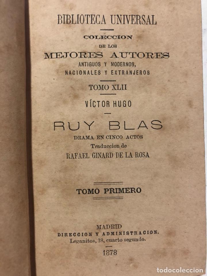 Libros antiguos: Ruy Blas. Drama en 5 actos. HUGO, Víctor. Colección los mejores autores, 1878. 2 tomos en 1 vol. - Foto 3 - 155667778