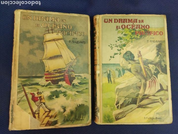 UN DRAMA EN EL OCEANO PACIFICO. SALGARI. 2 TOMOS. AUTORES CELEBRES. CALLEJA. MADRID, PRINC. S.XX (Libros Antiguos, Raros y Curiosos - Literatura Infantil y Juvenil - Novela)