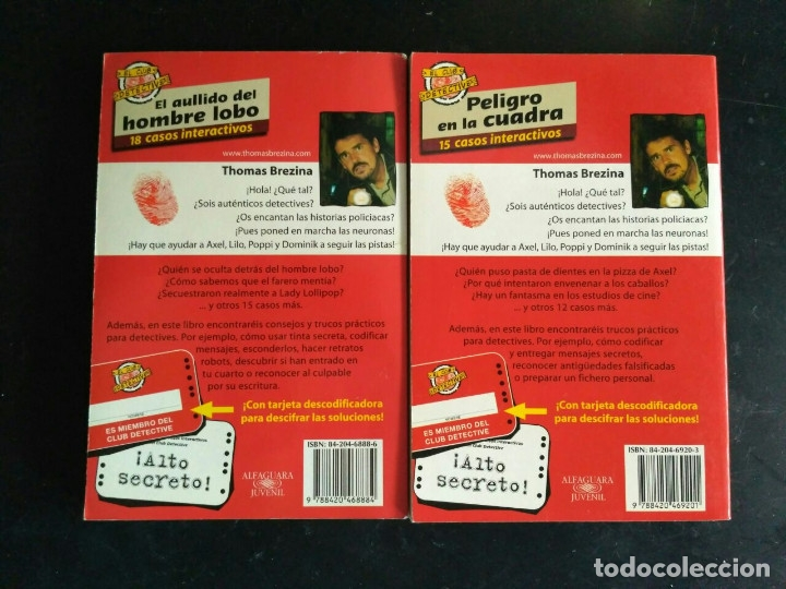 Libros antiguos: EL CLUB DETECTIVE: 2 EL AULLIDO DEL HOMBRE LOBO Y 4 PELIGRO EN LA CUADRA - Foto 2 - 172638500