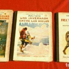 Libros antiguos: JULIO VERNE, 3 OBRAS (1935) HECTOR SERVADAC, UNA INVERNADA.. LEGUAS VIAJE SUBMARINO, ED. R. SOPENA. Lote 175110175