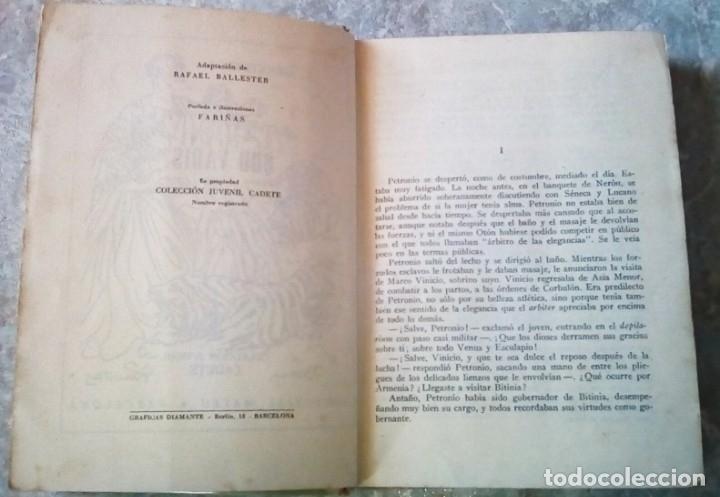 Libros antiguos: Quo Vadis?, de Henry Sienkiewicz. Colección Juvenil Cadete de la Editorial Mateu (1950 aprox.) - Foto 4 - 176205095