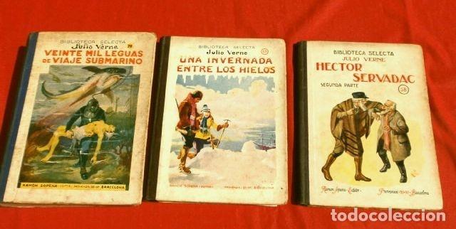 JULIO VERNE, 3 OBRAS (1935) HECTOR SERVADAC, UNA INVERNADA.. LEGUAS VIAJE SUBMARINO, ED. R. SOPENA (Libros Antiguos, Raros y Curiosos - Literatura Infantil y Juvenil - Novela)