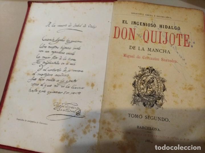 DON QUIJOTE DE LA MANCHA MIGUEL DE CERVANTES TOMO 1 Y 2 . AÑO 1881 (Libros Antiguos, Raros y Curiosos - Literatura Infantil y Juvenil - Novela)