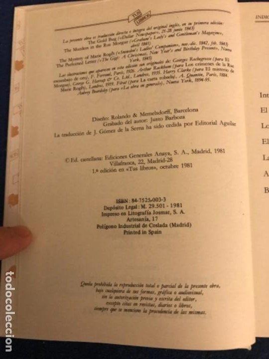 Libros antiguos: EL ESCARABAJO DE ORO. EDGAR ALLAN POE. COLECCIÓN TUS LIBROS. EDITORIAL ANAYA. 1ª ED. 1981. - Foto 3 - 193858205