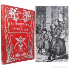 Libros antiguos: 1900 - NOVELA INFANTIL ILUSTRADA - CUBIERTA MODERNISTA - EL BECARIO DEL LICEO DE BAR - GRABADOS. Lote 235881140