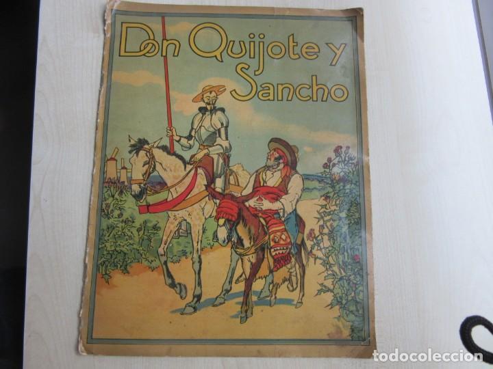 DON QUIJOTE Y SANCHO MANUFACTURAS SIRVEN BARCELONA POSIBLE AÑOS 30-40 (Libros Antiguos, Raros y Curiosos - Literatura Infantil y Juvenil - Novela)