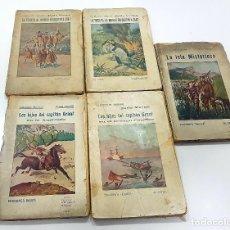 Libros antiguos: JULIO VERNE. 5 VOLUMENES COLECCION MUNDIAL EDICIONES BAUZA (AÑOS 20). Lote 243592035