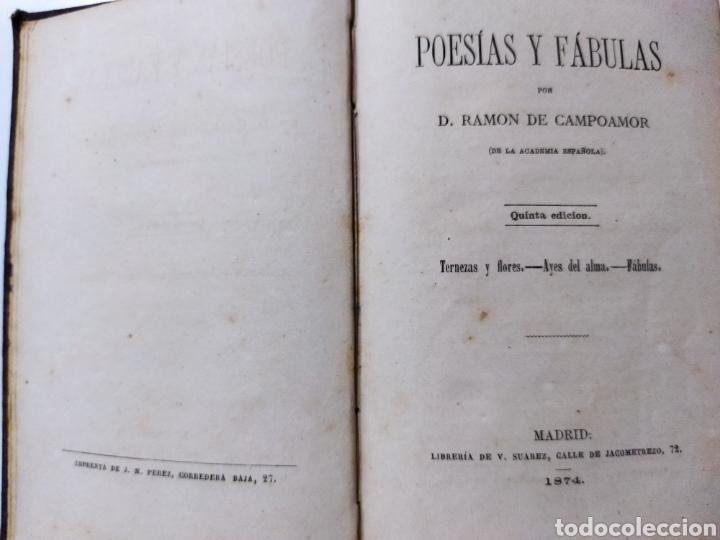 POESÍAS Y FABULAS.TERNEZAS Y FLORES .ÁYRES DE ALMA .FABULAS .RAMÓN DE CAMPOAMOR 1874 (Libros Antiguos, Raros y Curiosos - Literatura Infantil y Juvenil - Novela)