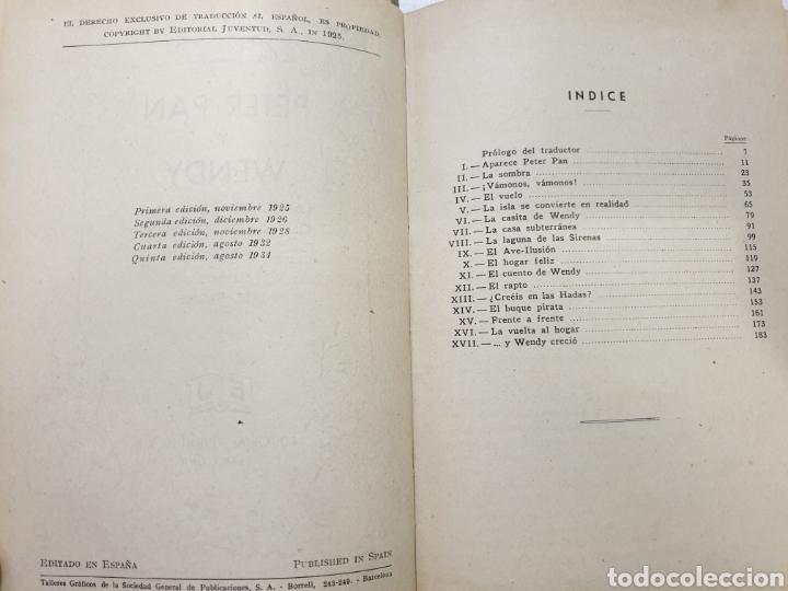 Libros antiguos: PETER PAN Y WENDY. EDITORIAL JUVENTUD QUINTA EDICIÓN 1934. J.M.BARRIE - Foto 5 - 267904054