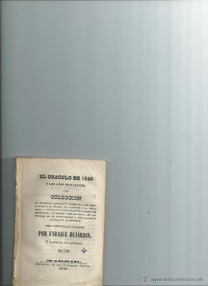 EL ORÁCULO DE 1840 - DUJARDIN - PROFECÍAS (Libros Antiguos, Raros y Curiosos - Parapsicología y Esoterismo)