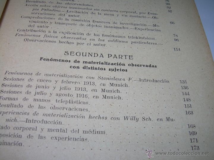 Libros antiguos: LOS FENOMENOS DE LA MEDIUMNIDAD.....AÑO..1.928 (CON INFINIDAD DE FOTOGRAFIAS). - Foto 7 - 44812965