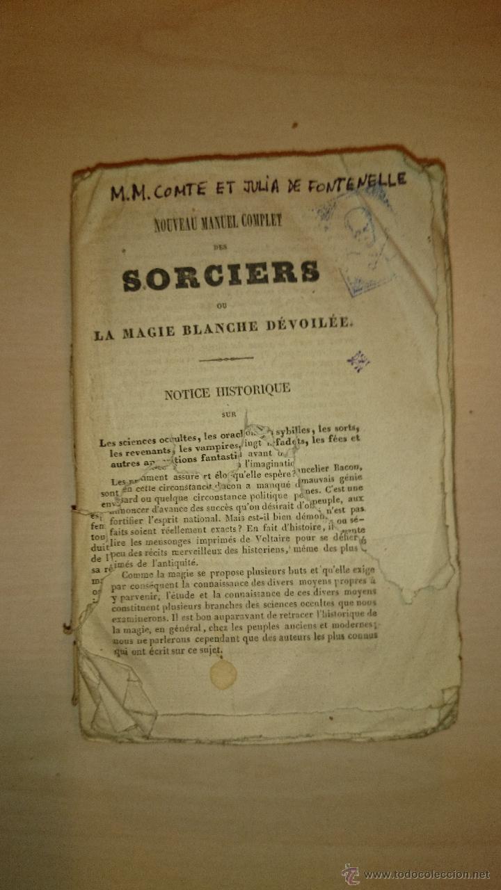 1841 - MAGIA - CIENCIAS OCULTAS - SORCIERS OU LA MAGIE BLANCHE DÉVOILÉE - RORET (Libros Antiguos, Raros y Curiosos - Parapsicología y Esoterismo)