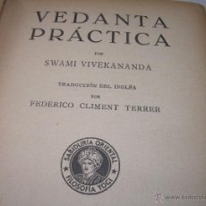 Libros antiguos: ANTIGUO LIBRO.....VEDANTA PRACTICA.. Lote 49541260