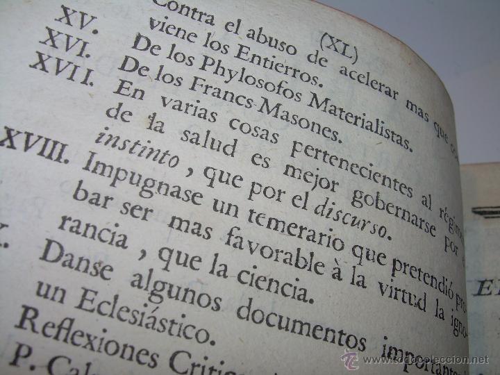 Libros antiguos: LIBRO TAPAS DE PIEL.....AÑO 1.774...BENITO FEYJOO.....VAMPIRISMO, MASONERIA, EXCORCISMOS. ETC. - Foto 7 - 50944368
