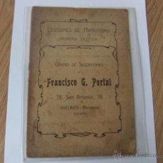 Libros antiguos: LECCIONES DE HIPNOTISMO, 9 CUADERNILLOS QUE COMPONEN LAS 15 LECCIONES. 1907. Lote 54214481