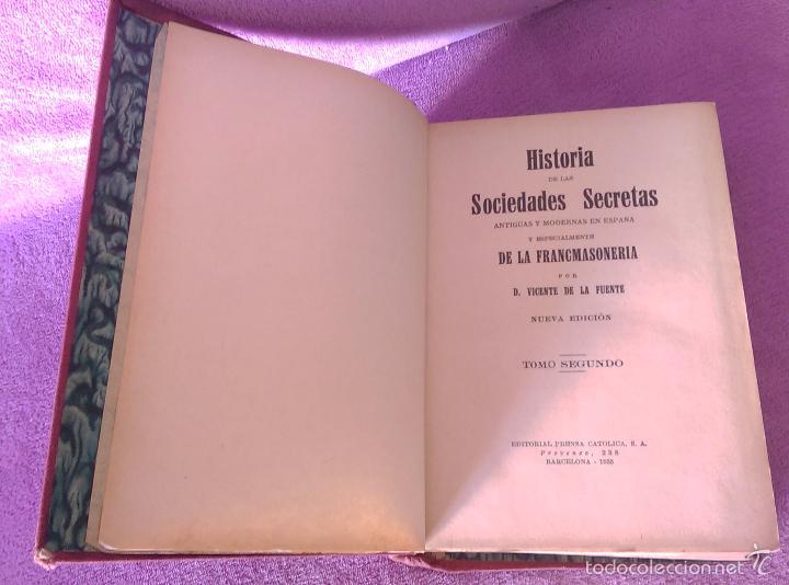 Libros antiguos: HISTORIA DE LAS SOCIEDADES SECRETAS, VICENTE DE LA FUENTE 1933 - Foto 2 - 56005511