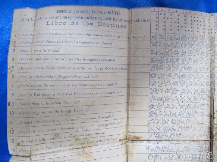 Libros antiguos: ORÁCULO O SEA, EL LIBRO DE LOS DESTINOS CON TABLA DE PREDICCIONES. VENDE BALDOMERO GUAL, 1889. - Foto 8 - 57010238