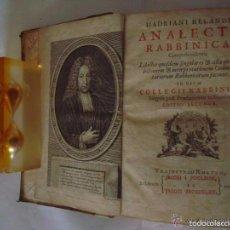 Libros antiguos: HADRIANI RELANDI. ANALECTA RABBINICA. 1723. CÁBALA. KÁBALAH. Lote 57991959