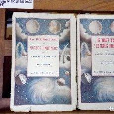 Alte Bücher - LA PLURALIDAD DE MUNDOS HABITADOS (COMPLETA, TOMOS I Y II) - CAMILO FLAMMARION (CIRCA 1920) - 78650709