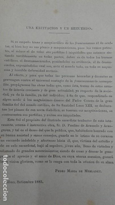 Libros antiguos: AVENTURAS DE UN JOVEN ROMANO ViCTIMA DE LA FRANCMASONERIA Pablo Victorino RARO 1885 BILBAO - Foto 6 - 110233147