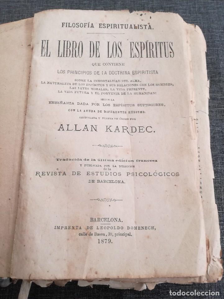 Libros antiguos: KARDEC (1879-1880): EL LIBRO DE LOS ESPÍRITUS, LIBRO DE LOS MÉDIUMS, EVANGELIO SEGÚN EL ESPIRITISMO - Foto 3 - 115396827