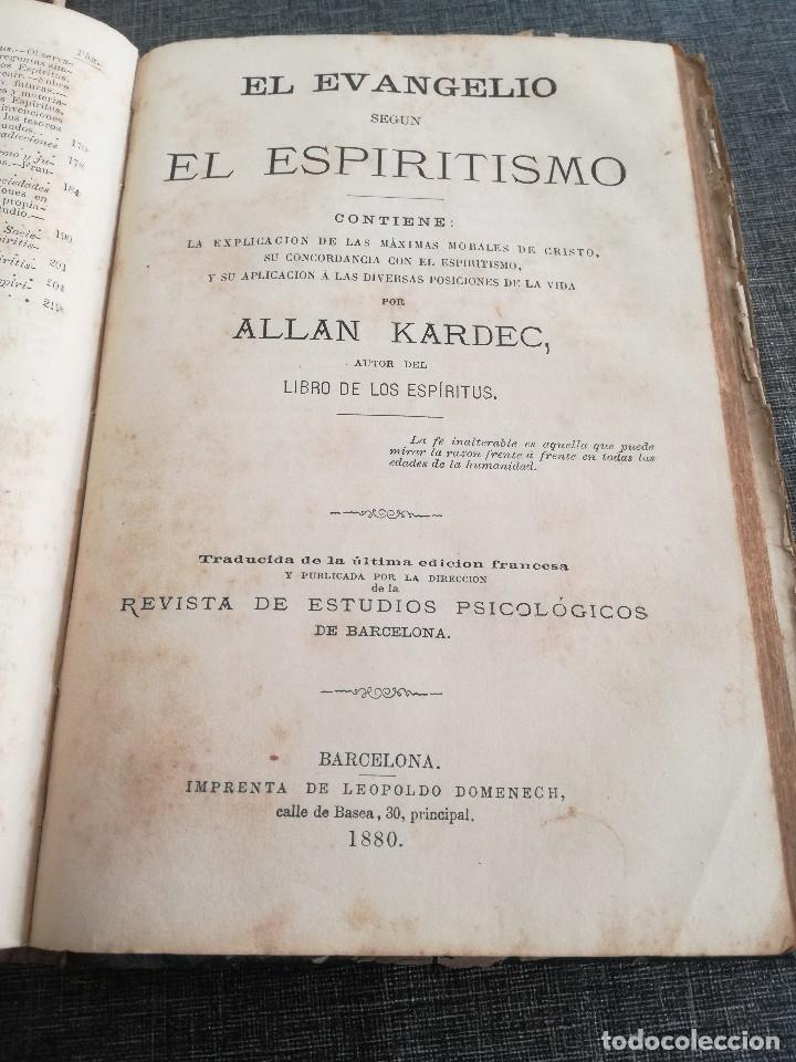 Libros antiguos: KARDEC (1879-1880): EL LIBRO DE LOS ESPÍRITUS, LIBRO DE LOS MÉDIUMS, EVANGELIO SEGÚN EL ESPIRITISMO - Foto 17 - 115396827