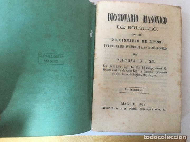 Libros antiguos: 1872.- MASONERIA. DICCIONARIO MASONICO DE BOLSILLO. DE RITOS Y VOCABULARIO ANALITICO DE 1.400 GRADOS - Foto 2 - 47851828