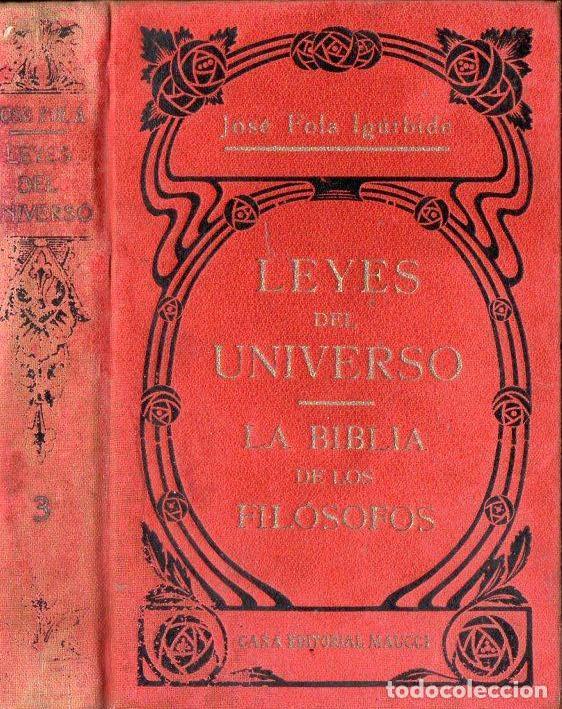 JOSÉ FOLA IGURBIDE : LEYES DEL UNIVERSO - LA BIBLIA DE LOS FILÓSOFOS TOMO 3 (MAUCCI, S.F.) (Libros Antiguos, Raros y Curiosos - Parapsicología y Esoterismo)