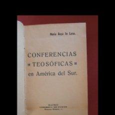 Libros antiguos: CONFERENCIAS TEOSÓFICAS EN AMÉRICA DEL SUR. MARIO ROSO DE LUNA. Lote 124208987