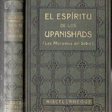 Libros antiguos: EL ESPIRITU DE LOS UPANISHADS (ANTONIO ROCH, C. 1930). Lote 125306459