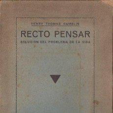 Libros antiguos: HAMBLIN : RECTO PENSAR (MAYNADÉ, S.F.). Lote 125735351