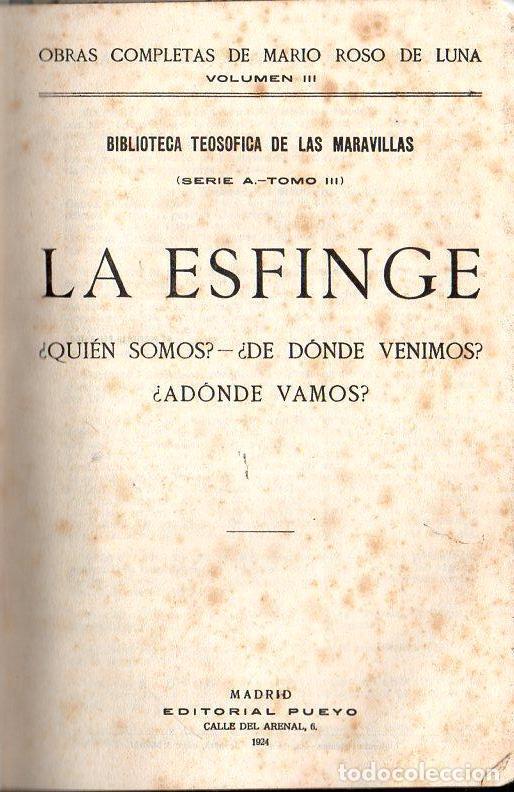 ROSO DE LUNA : LA ESFINGE (PUEYO, 1924) (Libros Antiguos, Raros y Curiosos - Parapsicología y Esoterismo)