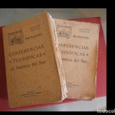 Libros antiguos: CONFERENCIAS TEOSOFICAS EN AMERICA DEL SUR. MARIO ROSO DE LUNA. 2 VOLÚMENES. Lote 129137687