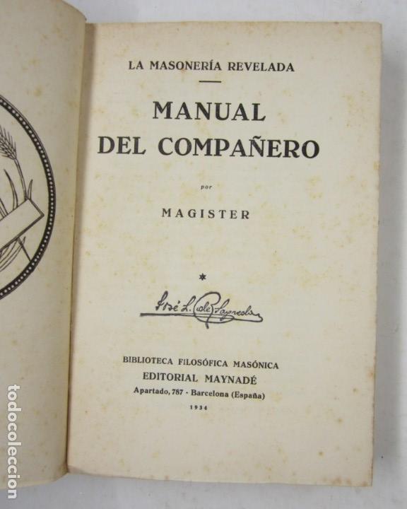 Libros antiguos: Manual del compañero, Magister, 1934, Editorial Maynadé, Barcelona. 12,5x19cm - Foto 2 - 132543150
