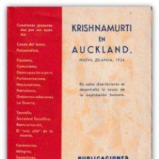 Libros antiguos: 1935 - 1ª ED. - TEOSOFÍA - ESOTERISMO - KRISHNAMURTI EN AUCKLAND, NUEVA ZELANDA, 1934. DISERTACIONES. Lote 143866202