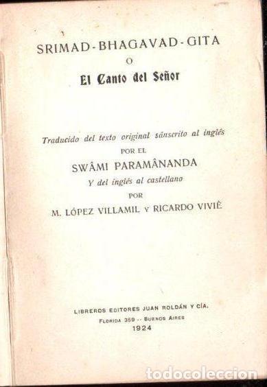 Libros antiguos: SRIMAD BHAGAVAT GITA O EL CANTO DEL SEÑOR (1924) TRADUCCIÓN DE SWAMI PARAMANANDA - Foto 2 - 154827418