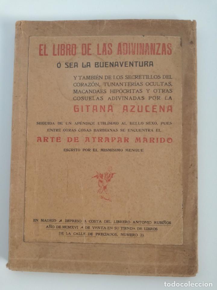 EL LIBRO DE LAS ADIVINANZAS O SEA LA BUENAVENTURA - GITANA AZUCENA (1916) - ARTE DE ATRAPAR MARIDO (Libros Antiguos, Raros y Curiosos - Parapsicología y Esoterismo)