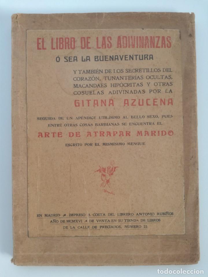 Libros antiguos: EL LIBRO DE LAS ADIVINANZAS O SEA LA BUENAVENTURA - GITANA AZUCENA (1916) - ARTE DE ATRAPAR MARIDO - Foto 11 - 157949390