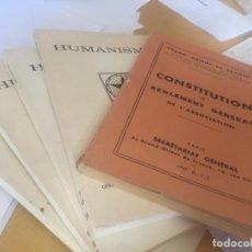 Libros antiguos: LOTE. 1957. GRAN ORIENTE FRANCES. CONSTITUCIÓN Y REVISTA HUMANISME 55, 58-59, 60 Y 69-70. MASONERIA. Lote 164946714