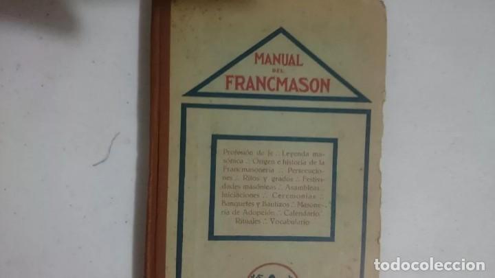 MANUAL DEL FRANCMASON - ANTIGUO Y RARO DE 1924 (Libros Antiguos, Raros y Curiosos - Parapsicología y Esoterismo)