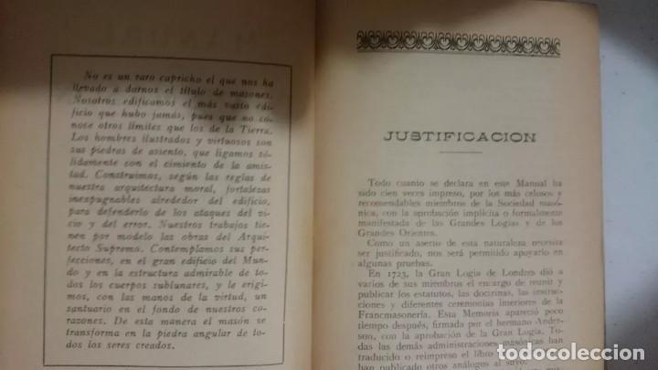 Libros antiguos: MANUAL DEL FRANCMASON - ANTIGUO Y RARO DE 1924 - Foto 4 - 170895045