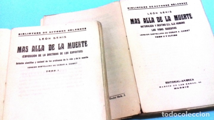 Libros antiguos: Mas allá de la muerte / Leon Denis. 2 vol. Editorial América, Imprenta Viuda AG Izquierdo. 1929 - Foto 2 - 172364407