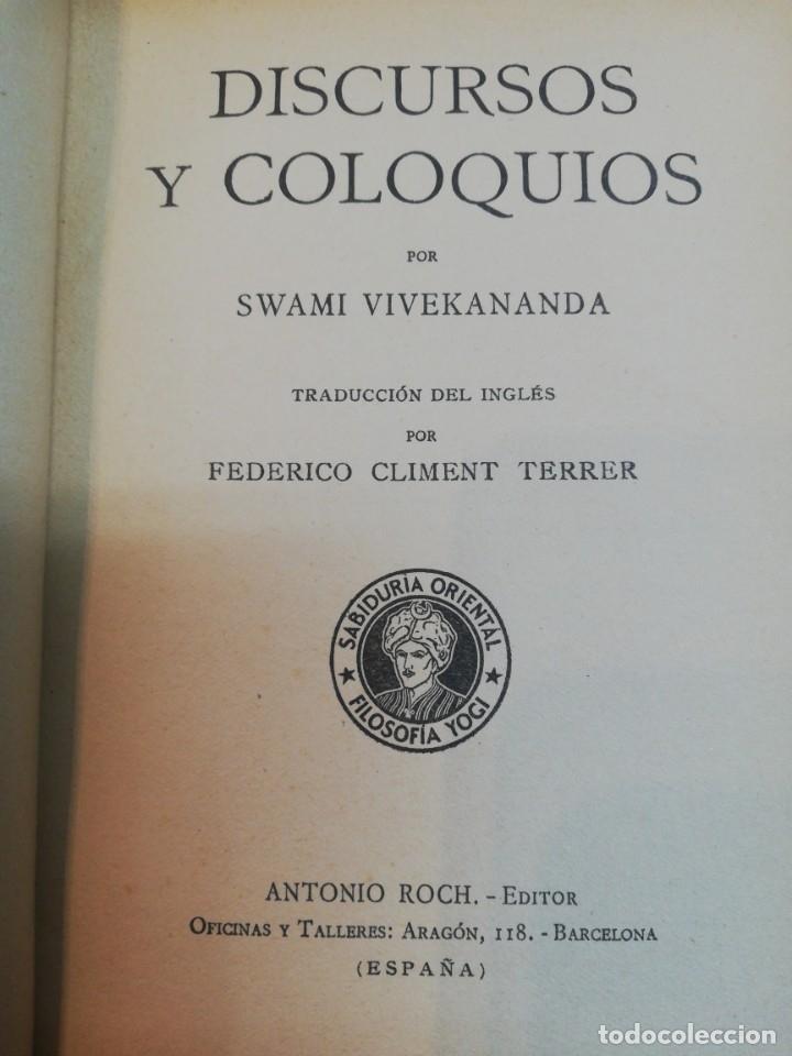 Libros antiguos: Swani Vivekananda. Discursos y coloquios - Foto 2 - 181990857