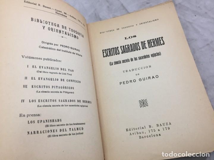 Libros antiguos: LOS ESCRITOS SAGRADOS DE HERMES LA DOCTRINA SECRETA DE LOS SACERDOTES EGIPCIOS ED BAUZA - Foto 3 - 182426805