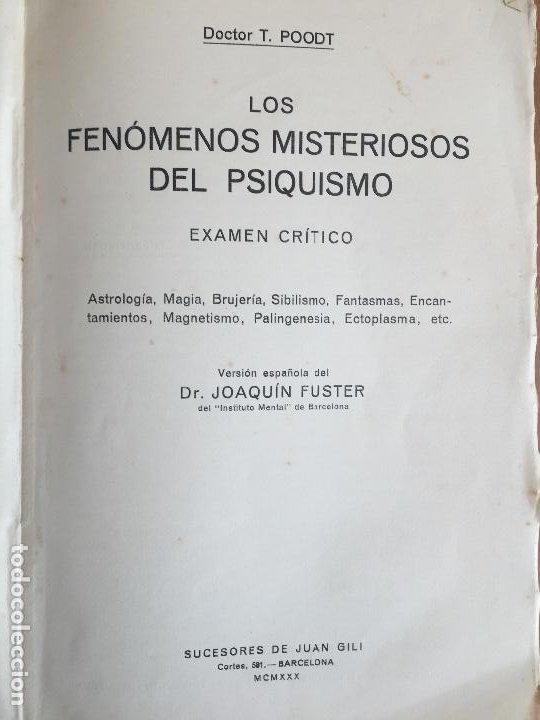 Libros antiguos: LOS FENOMENOS MISTERIOSOS DEL PSIQUISMO - JOAQUIN FUSTER - AÑO 1930 - GCH1 - Foto 2 - 190119558