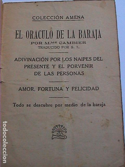 Libros antiguos: EL ORACULO DE LA BARAJA.1925. EDITOR LORENZO BAU BONAPLATA. BARCELONA. - Foto 2 - 192794312